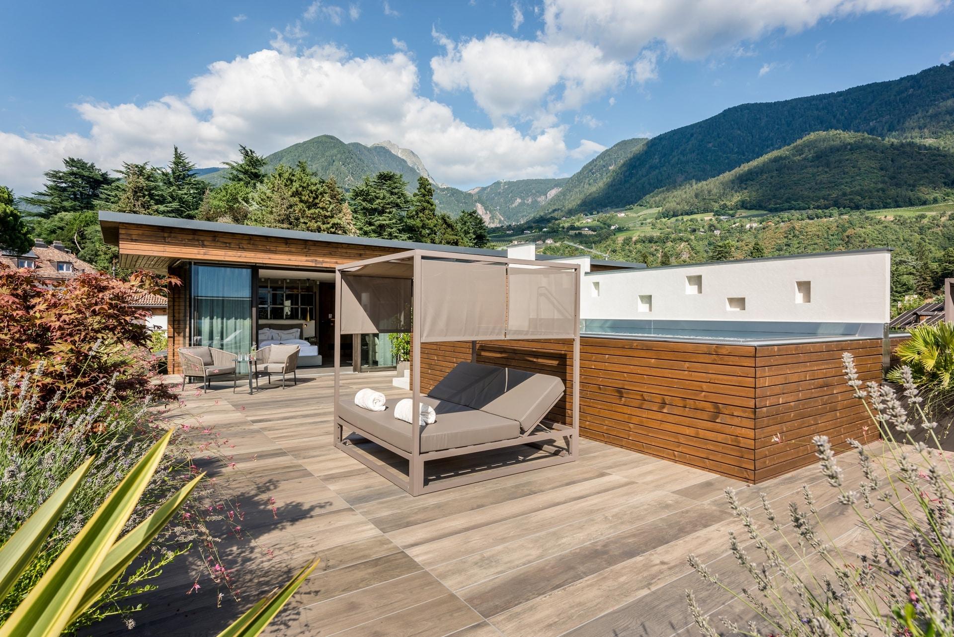 Penthouse Suite mit Poll & Sauna im Hotel Plantitscherhof in Meran/Südtirol.